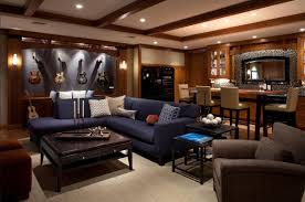 Camo Living Room Ideas by Man Cave Small Room Ideas Black Leather Home Theater Sofa