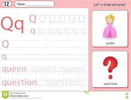 Free Alphabet Tracing Worksheets Cartoon Queen And Question Alphabet Tracing Worksheet Stock