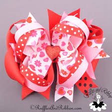 boutique bows large boutique hair bow valentines day hearts in bloom ott