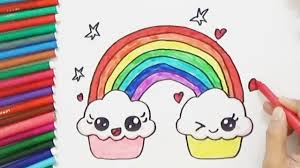 how to draw cute rainbow and smiling clouds cute and easy