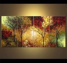 original abstract modern landscape made landscape blooming trees painting original abstract modern acrylic
