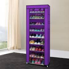 portable 10 layer 9 grid shoe rack shelf storage closet organizer