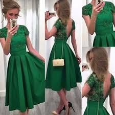 graduation dresses green sleeves backless knee length a line prom dresses 2018