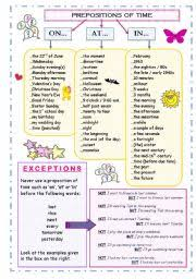 english exercises prepositions of time in on at