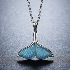 luxury silver necklace images 925 sterling silver ocean sea blue enamel fish whale 39 s tail jpg
