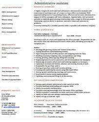 resume template for administrative position administrative