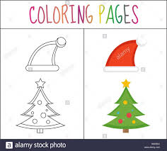 coloring book page christmas santa hats and tree sketch color