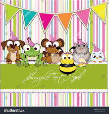 invitation card welcome baby birthday party stock vector 145240984