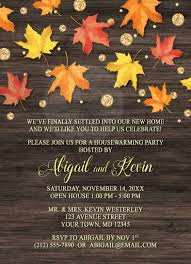 housewarming invitations falling leaves with gold autumn