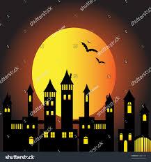 halloween ghost town full moon bats stock vector 60681118