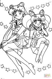 usagi tsukino and sailor chibi moon coloring page free printable