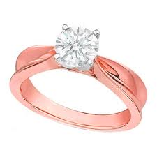 Rose Gold Wedding Rings by Engagement Ring Solitaire Concave Diamond Engagement Ring In Rose
