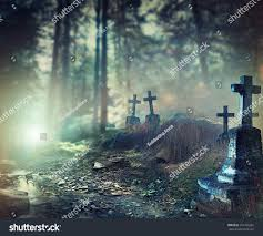 halloween art design background foggy graveyard stock photo