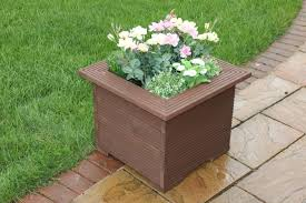 Square Planter Pots by Wooden 47cm Square Planters Made In Decking Perfect Flower Trough