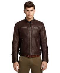 brown motorcycle jacket brooks brothers leather motorcycle jacket in brown for men lyst