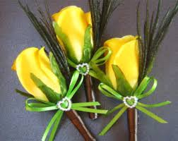 Mens Boutineer Yellow Lapel Flower Etsy