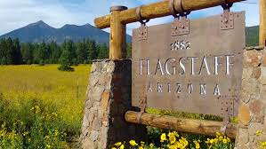 Arizona travelers stock images Wide angle shot of a flagstaff arizona sign an old fashioned old jpg