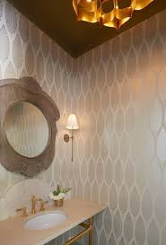 powder room with brown ceiling and silver metallic wallpaper