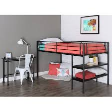 walker edison twin metal loft bed with desk and shelving multiple