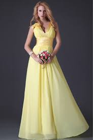 yellow dresses for weddings princess sweet yellow chiffon floor length a line evening wedding