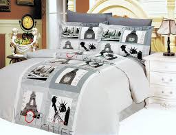 gray paris eiffel tower teen girl bedding 6pc duvet cover set full queen world scenes