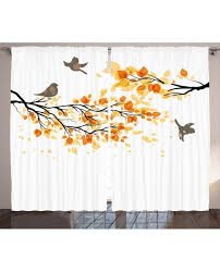 Shower Curtains With Birds Decor Curtain Flying Birds Leaves Print 2 Panel Window Drapes