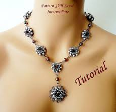 necklace beaded pattern images Pearl elegance beaded necklace beading tutorials and patterns jpg
