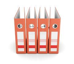 le de bureau orange dossier orange de bureau vue de d isolement sur le fond