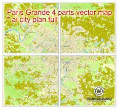 Map Paris France by Paris Full Grande France Printable Vector Street City Plan 4