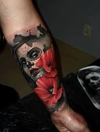 face and flower half sleeve tattoo u2013 tattoos center