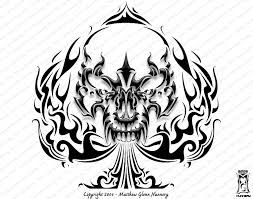 tribal ace symbol and skull design ace sign tattoos