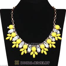 resin necklace wholesale images Yellow rhinestone crystal marquess fleur flower choker bib jpg