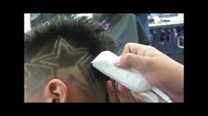 faded mohawk with star design haircut whal peanut clippers video