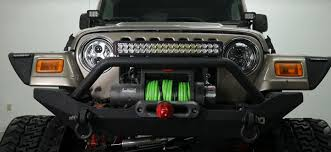 Jeep Wrangler Led Light Bar by Jeep Wrangler Tj With Tracks Led Headlights Led Light Bar And