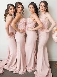 buy mermaid spaghetti straps pink stretch satin bridesmaid dress