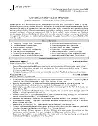 Resume Sample For Management Position by Project Manager Cv Template Construction Project Management Jobs