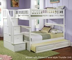 Columbia Full Over Full Staircase Bunk Bed White Bedroom - Full over full bunk bed with trundle