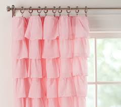 Ruffled Pink Curtains Pink Ruffle Curtains Tiered Ruffle Sheer Pottery Barn