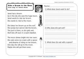 reading passage 1st grade ride a broom to the moon 1st grade reading comprehension