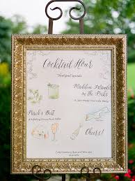 cute framed cocktail sign idea with illustrations for a cocktail
