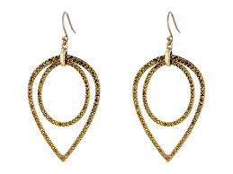 earrings brand lyst lucky brand pave teardrop earrings in metallic