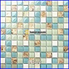Blue Glass Mixed White Stone Sea Shell Kitchen Backsplash Mosaic - Seashell backsplash