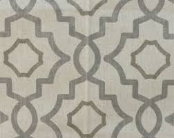Geometric Drapery Fabric Grey Ogee Fabric Etsy
