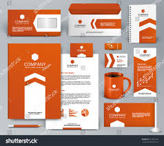 professional orange universal branding design kit stock vector