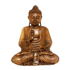Buddha Statues Home Decor Wooden Serene Meditating Buddha Art Statue Hand Carved Sculpture