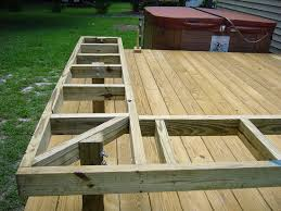 Outdoor Wooden Bench Plans by How To Build Benches On A Deck Click On An Image To See A Larger