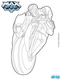 max steel on his motorcycle coloring pages hellokids com