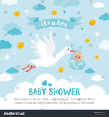 baby shower card stork carrying cute stock vector 548253787