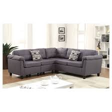 Reversible Sectional Sofa by Acme Cleavon Reversible Sectional Sofa With 2 Pillows Gray Linen