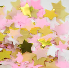aliexpress com buy paper star confetti white pink and gold baby